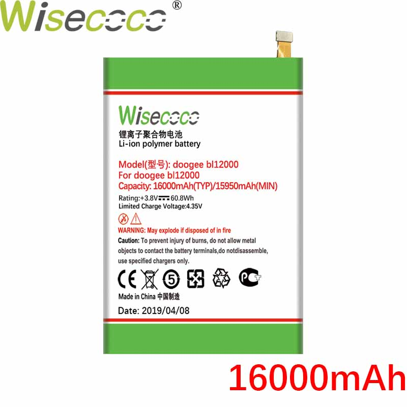 Wisecoco BL12000 16000mAh NEW Battery For Doogee bl12000 Battery Hight Capacity Top Quality battery+Tracking NumberWisecoco BL12000 16000mAh NEW Battery For Doogee bl12000 Battery Hight Capacity Top Quality battery+Tracking Number