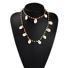 2019 Summer Beach Colorful Beaded Necklace for Women Shell Stone Chain Statement Sets Trendy Chokers Pendants