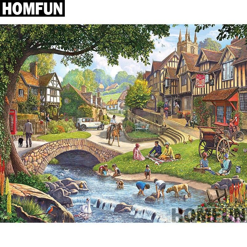 Алмазная 5d-картина HOMFUN «Летняя деревня», вышивка крестиком, полное покрытие, квадратные/круглые, домашний декор, A00813