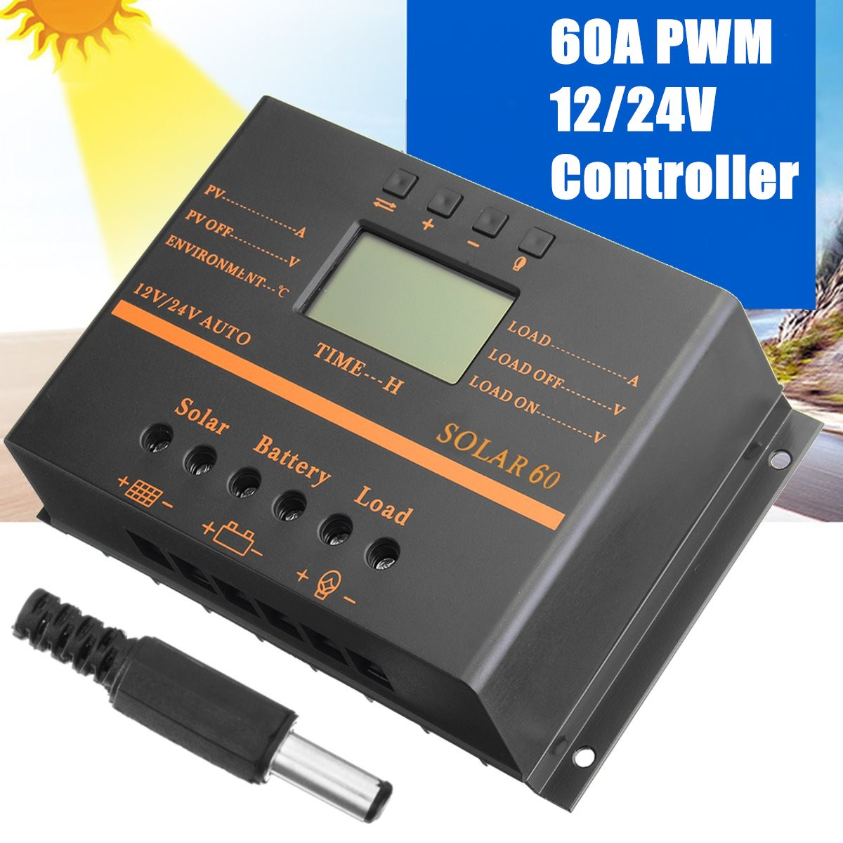 60A New Solar Controller for mobile phone 12V 24V PV panel Battery Charge Controller Solar system Home indoor use