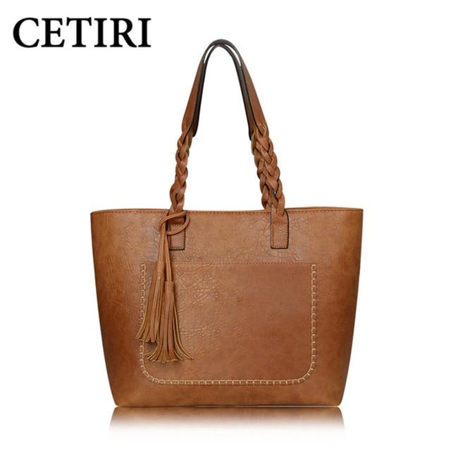03c8fa37f56 Women PU Leather Handbags Bolsos Mujer De Marca Famosa Female Vintage Bag  For Women Shoulder Bag Retro Large Capacity Tote Bags