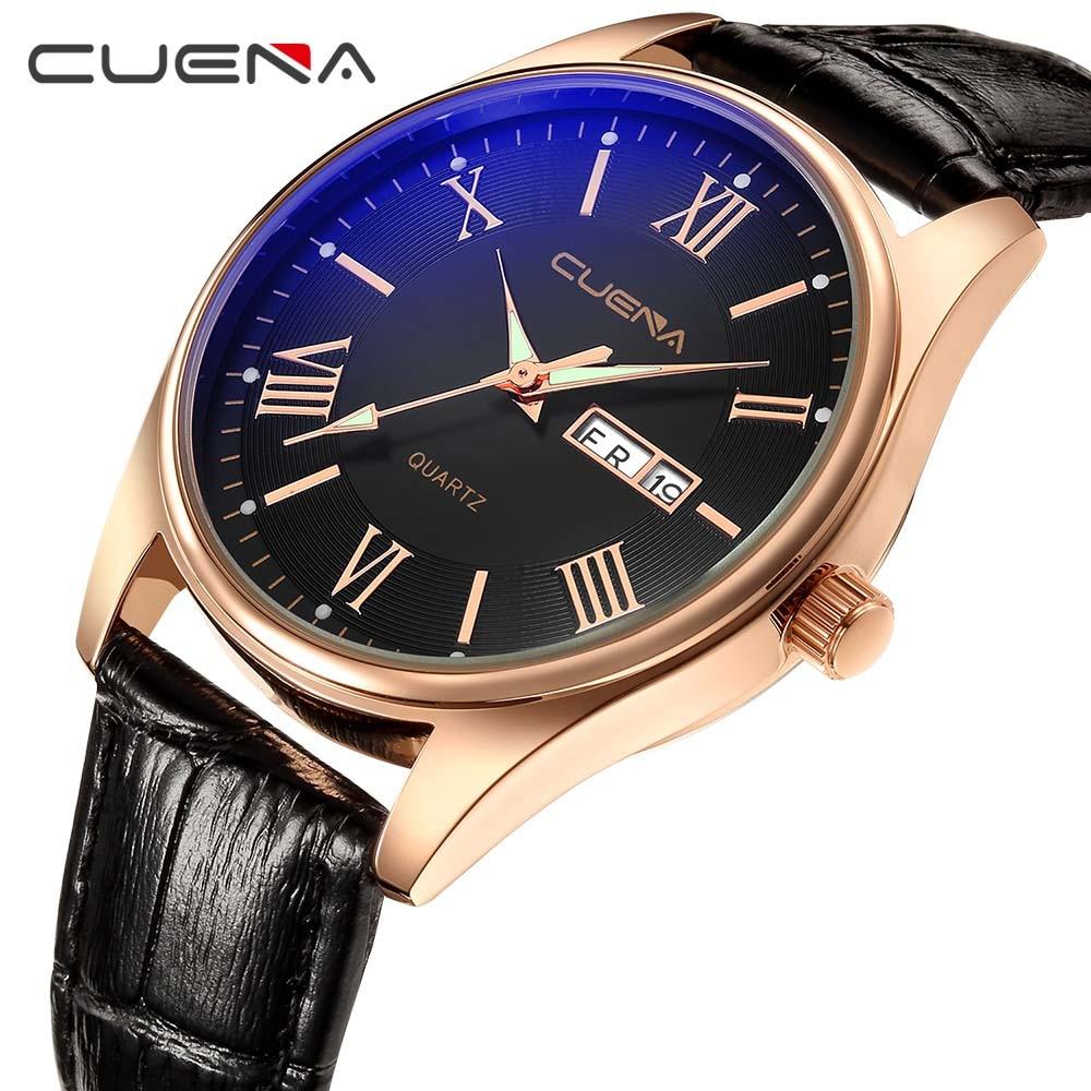 CUENA Quartz Watches Men Luminous Hands Week Display Calendar Genuine Leather Strap Waterproof Watches Men Fashion Watch 2018