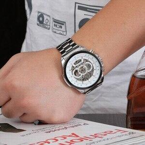 Image 3 - 2018 זוכה אופנה עיצוב שחור מכאני פלדת שעון אוטומטי שעונים גברים שחור נירוסטה עסקי רצועת Relogio זכר 428