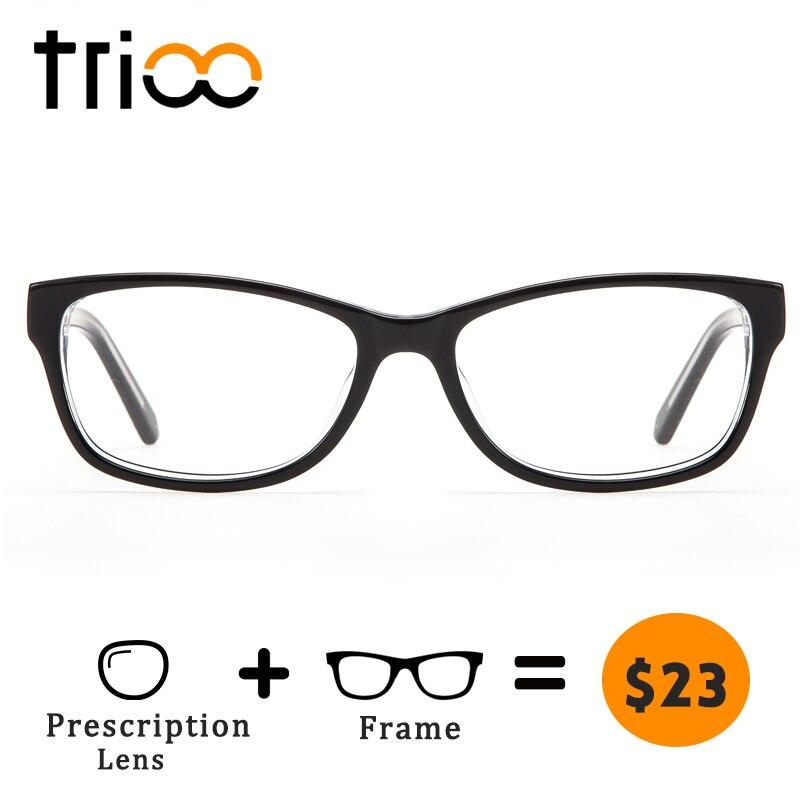 aef081da07 TRIOO Myopia Prescription Glasses Women Reading Eyewear Computer Eyeglasses  Clear Diopter Optical Lens Black Spectacles Oculos