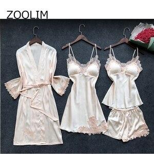 Image 4 - ZOOLIM 4 Pieces Women Pajamas Sets Satin Sleepwear Silk Nightwear Pyjama Spaghetti Strap Sleep Lounge Pijama with Chest Pads