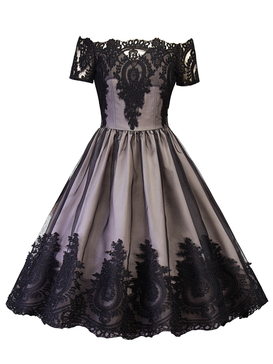 Plus größe kleid schulterfrei spitze retro knielangen vintage Kleid ...