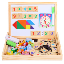 Wooden 3D Puzzles For Children Number Animals Dog Monkey Cat Multifunctional Magnetic Kids Puzzle Drawing Board Educational Toys mwz multifunctional drawing board wooden toys educational magnetic puzzle children kids jigsaw toys