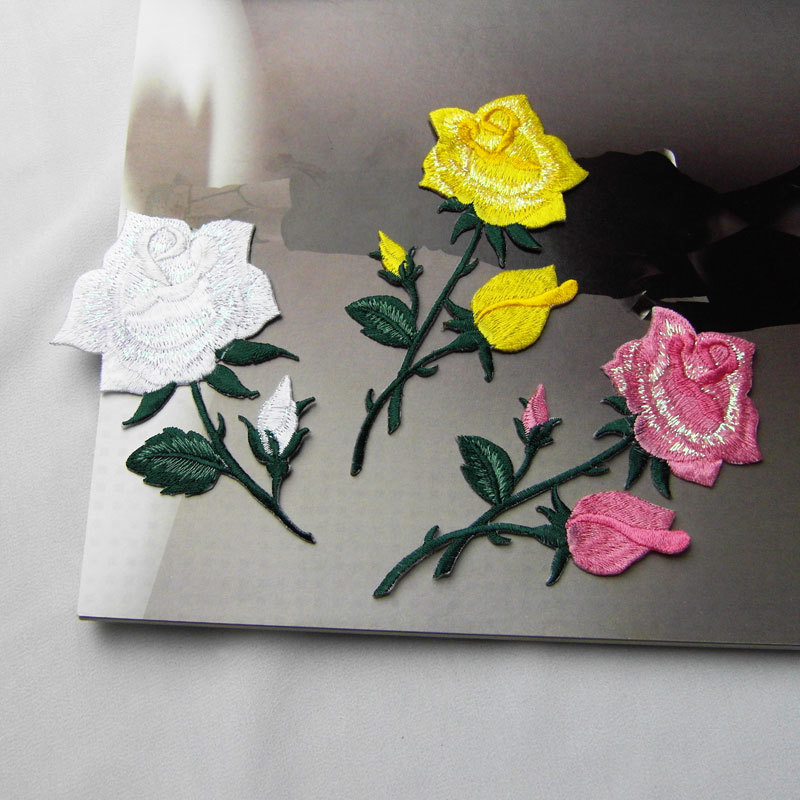 Embroidery pink yellow white rose patch for dress coats decoration decals luggage decorations iron on flower patches 3 color