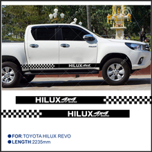2 PC hilux HILUX chequered racing side door panel stripe graphic Vinyl stickers for TOYOTA HILUX free shipping 4 pc hilux side stripe graphic vinyl sticker for toyota hilux decals