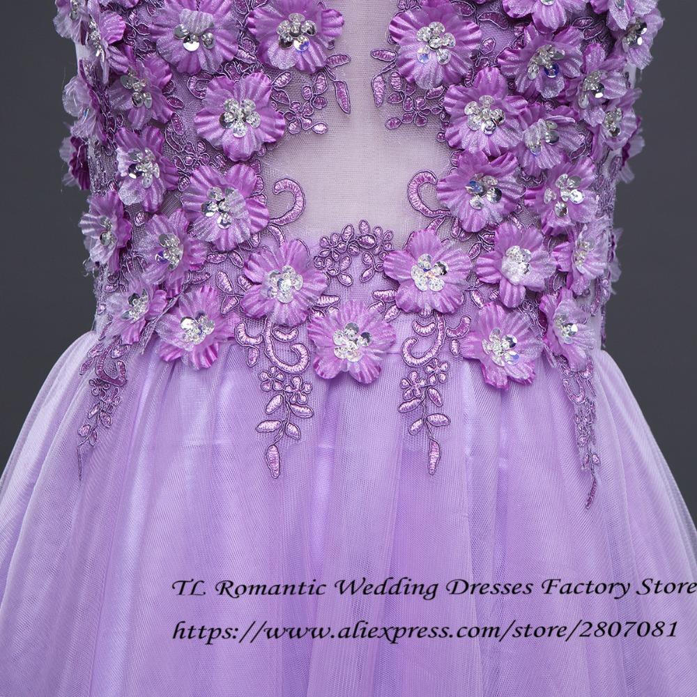 бесплатная доставка фиолетовый тюль с V-образным вырезом цветы прозрачный секс мини подружкам невесты обувь для девочек короткие праздничное платье лето 2017 г. lf298