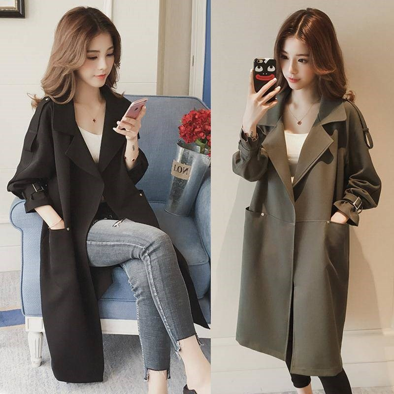 Women's Mid-long Windbreaker Loose Overcoat Spring Women   Trench   Coat Full Sleeve European Long Open Stitch Streetwear 4xl