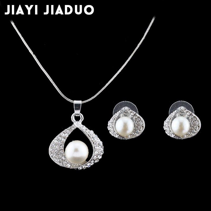 Mutig Jiayijiaduo Hochzeit Schmuck-sets Für Braut Silber-farbe Imitation Perle Für Frauen Halskette Ohrringe Set Von Frauen Geschenk Elegant Im Geruch Hochzeits- & Verlobungs-schmuck