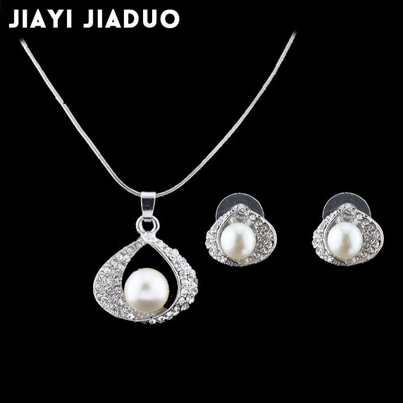 jiayijiaduo Wedding Jewelry Sets For Bridal silver-color Imitation  Pearl for Women Necklace Earrings set of women gift