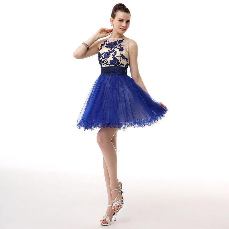 e303af1f0ab35 US $71.93 28% OFF Elegant Cocktail Dresses 2019 Beaded Lace Tank Royal blue  Short Prom Homecoming Dresses Mini Evening Party Dress-in Cocktail Dresses  ...