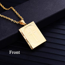 Religious Cross Locket Necklace Pendant Silver Gold Color Photo Frame Memory Necklace For Women/Men Christmas Gift Hot Sale(China)
