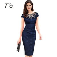 T O Hot Sale Elegant Lady Vintage Embroidery Hollow Out Round Neck Cap Sleeve Ruched Bodycon