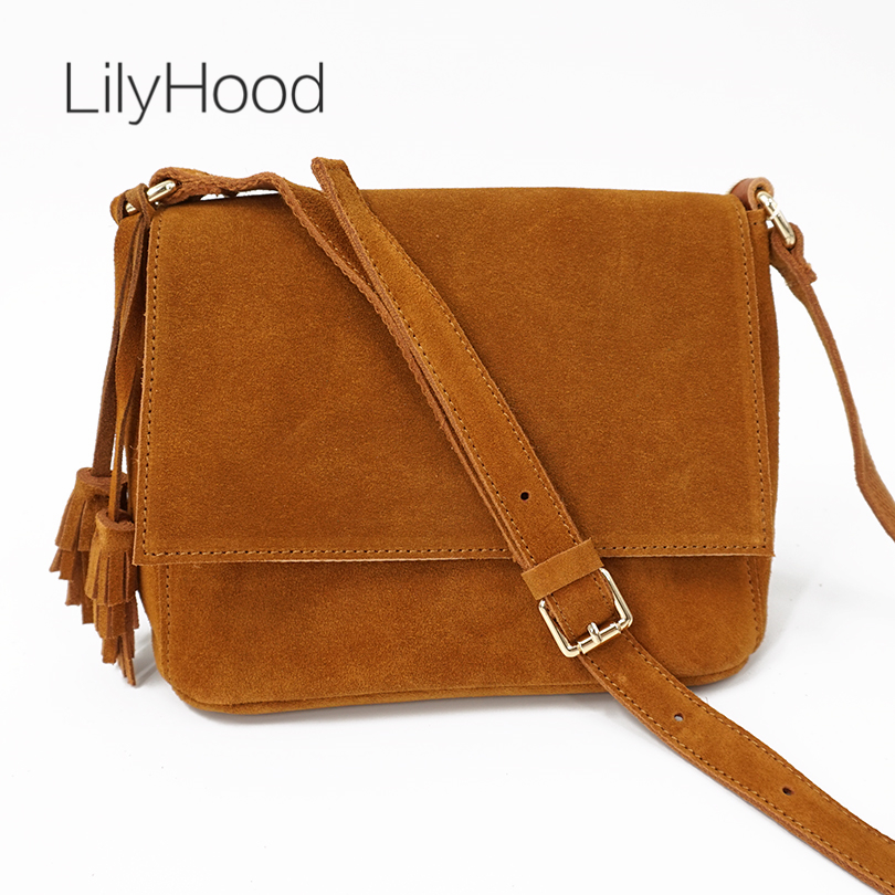 LilyHood 2018 Women Genuine Leather Casual Shoulder Bag Lady Cute Boho Leisure Suede Tassel Fringe Music Festival Crossbody Bags genuine leather suede vintage bohemian fringe messenger crossbody bag purse women tassel boho hippie gypsy fringed handbag women