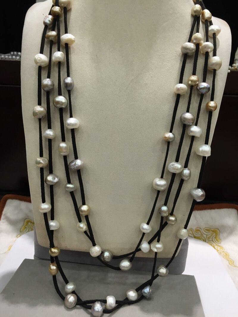 Collier de perles en cuir 10-11 MM collier de perles d'eau douce naturelle collier long 4 couches fermoir aimant mode femmes bijoux