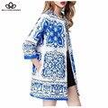 Primavera de 2017 Azul E Branco Da Porcelana jacquard floral mulheres longa jaqueta casaco