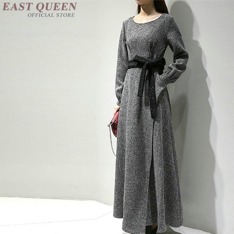 2018 automne automne fasion longue maxi robe bureau d'affaires social occasion robes à manches longues tunique ceinturée robe KK2110 Y