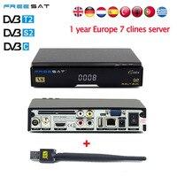 V8 Vàng HD Vệ Tinh Nhận Được + USB WIFI + 1 năm Châu Âu 7 Clines USB Wifi DVB-T2 + S2/C thụ hỗ trợ Vệ Tinh Powervu Google