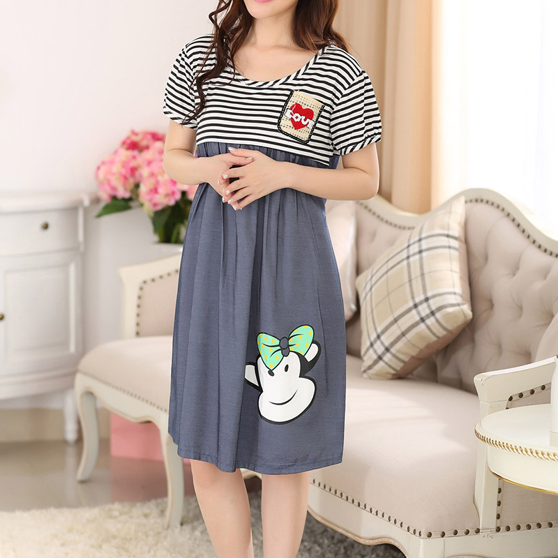 Pregnant Dress Short Sleeve Striped Nursing Dresses Maternity Clothing Summer Clothes for Pregnancy Women Casual Cute Skirt