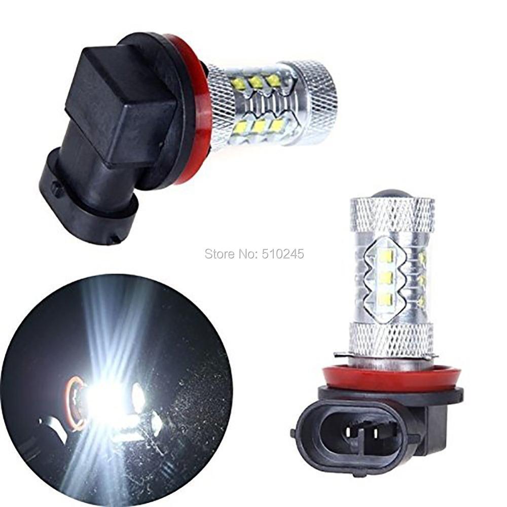 2X PNP Super bright High power LED H8 80W 16 CHIPS LED Fog Light Car Daytime Running Light DRL Bulb LED free shipping