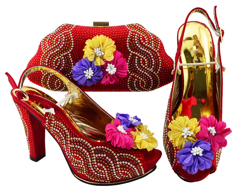 Luxury red with flower decoration wedding/party high heel sandal shoes and handbag sets JZS-02Luxury red with flower decoration wedding/party high heel sandal shoes and handbag sets JZS-02