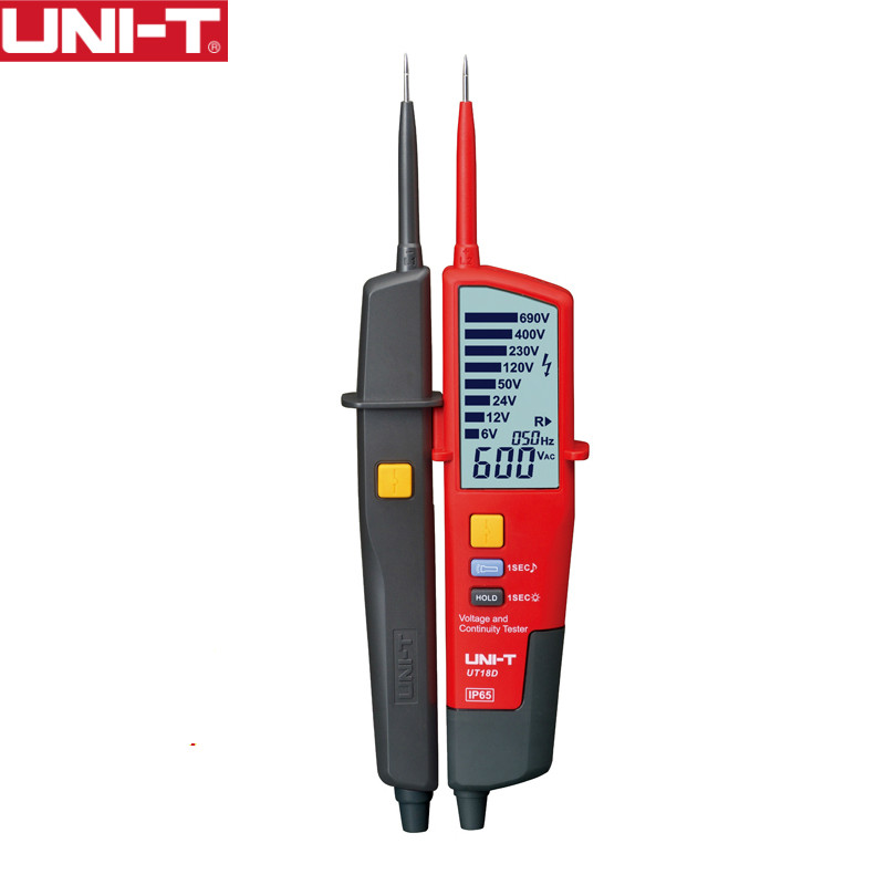 UNI-T UT18D digital voltmeter 690V AC DC Voltage Meter <font><b>metal</b></font> Detector Waterproof Test Pen Full LCD Display RCD Test Auto Range