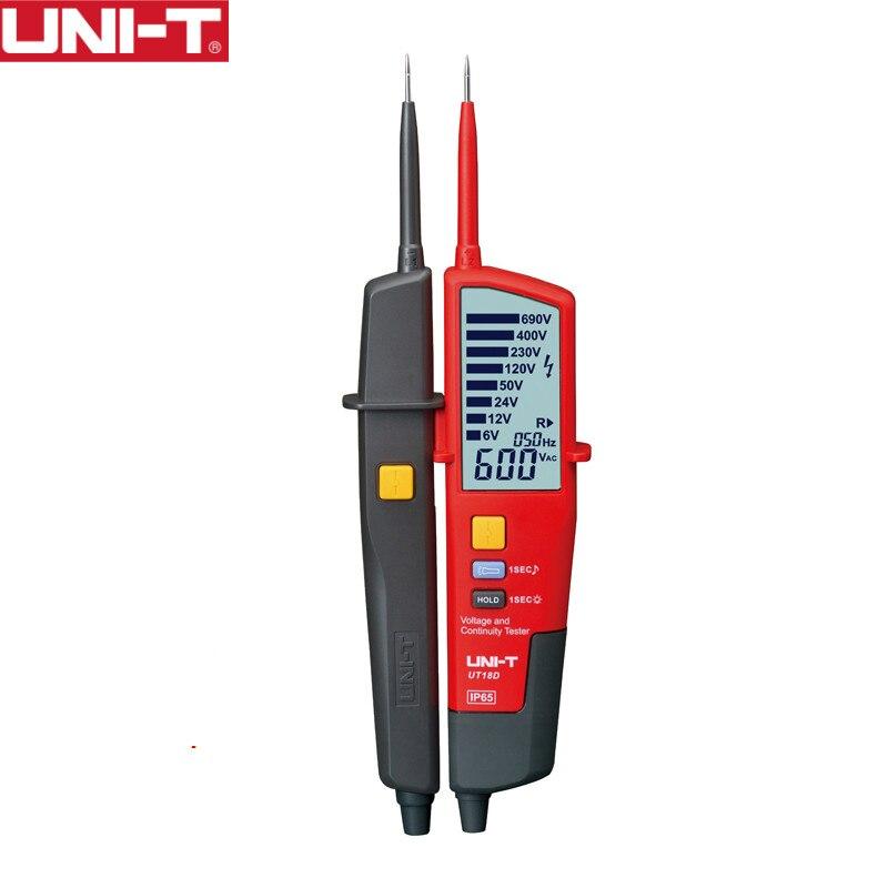 UNI-T UT18D numérique voltmètre 690 v AC DC Tension Mètre Détecteur De métal Étanche Test Stylo LCD Full Affichage RCD Test auto Gamme