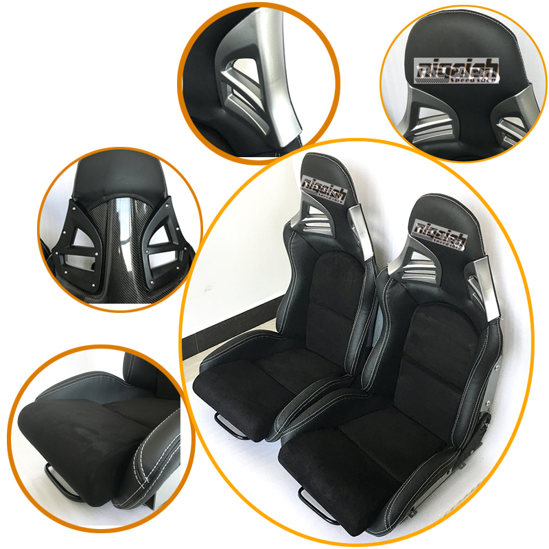 2PCS/LOT OEM SPE Adjustable & Reclinable Seat Black PU leather Sport Racing Car Seat for Porsche цена 2017