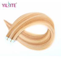 Yilite Double Sided Skin Weft Tape In Human Hair Extensions 20pcs Balayage Color #P27/613 Blonde Non Remy PU Hair Extension 20''