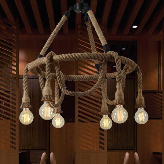 Винтажная веревка Подвесные светильники Лампа для лофта творческой личности промышленная лампа Эдисона лампа американский стиль для украшения гостиной