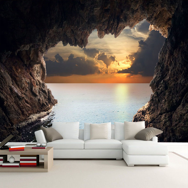 Custom Photo Wallpaper 3D Stereoscopic Cave Seascape Sunrise TV Background Modern Mural Wallpaper Living Room Bedroom Wall Art custom 3d high quality modern photo wallpaper bedroom living room large background wall mural romantic purple avender wallpaper