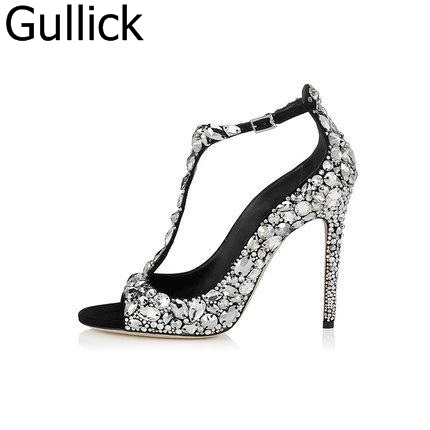 Women Wedding Twinkling Rhinestone Crystal Ankle T-Strap Buckle Strap Sandals Elegent Peep Toe And Pointed Toe High Heel Pumps hanbaidi sexy patent leather women pumps luxury rhinestone pointed toe buckle strap women high heel sansals sandalias mujer 2018