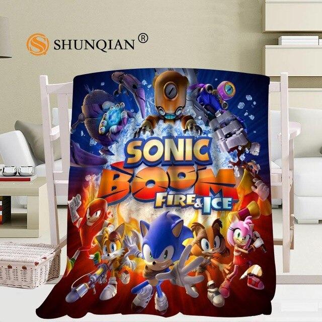Custom Sonic The Hedgehog Blanket Soft Fleece DIY Your Picture Decoration  Bedroom Size 58x80Inch,50X60Inch