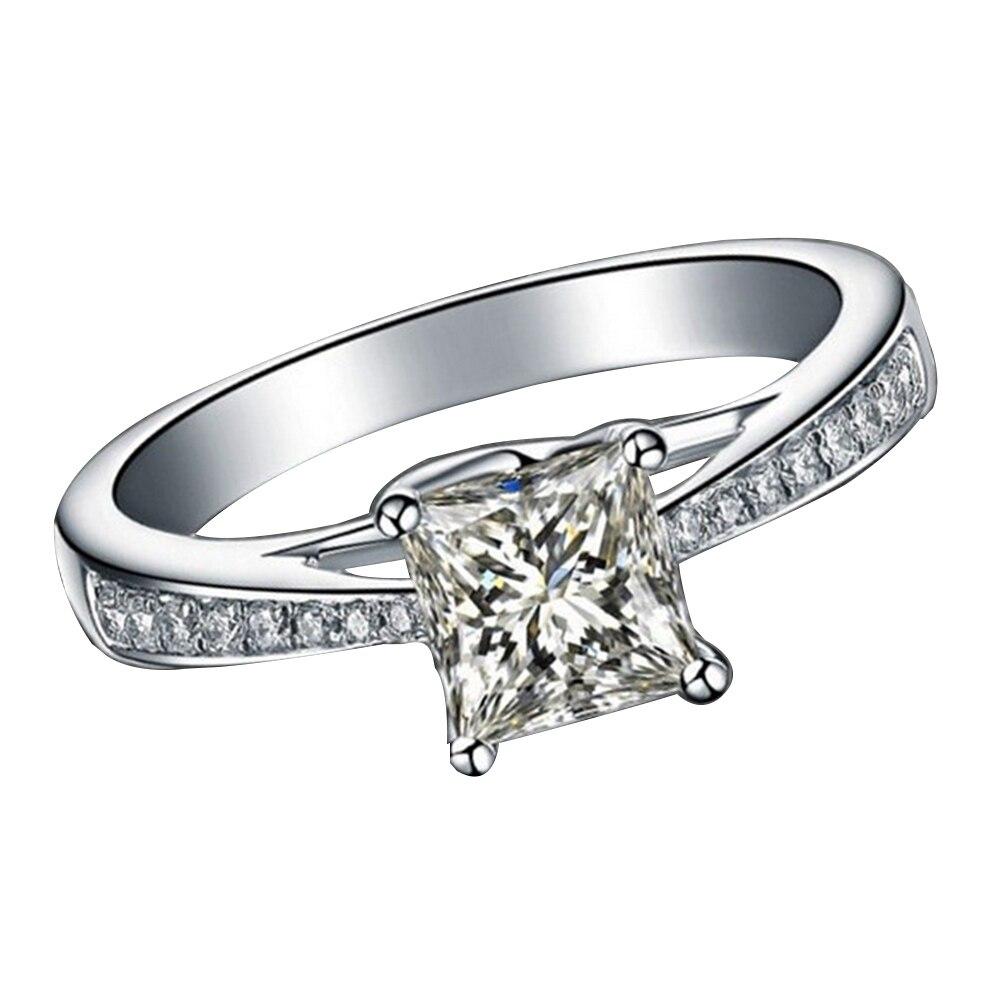 Для женщин Дамская мода квадратный со стразами кольцо любовника помолвка Promise Ring
