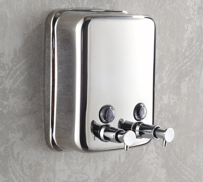 1500 capacity 304 stainless steel double soap dispenser wall mounted hand Lotion Shampoo Hotel Soap Liquid Dispensers 500mlx3 wall mounted soap box hand sanitize hotel shampoo bottle bath soap dispenser hotel stainless steel liquid home dispenser