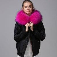 Черное пальто на замке из меха ягненка, парка розового цвета с мехом енота, плотная подкладка из искусственного меха, водонепроницаемая тка