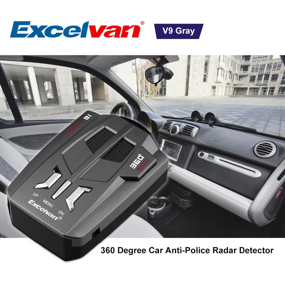 Clearing StockExcelvan V9 Vehicle Radar Detector 360 Degree Car Trucker Speed Voice Alert Warning 16 Band Auto 12V LED Display