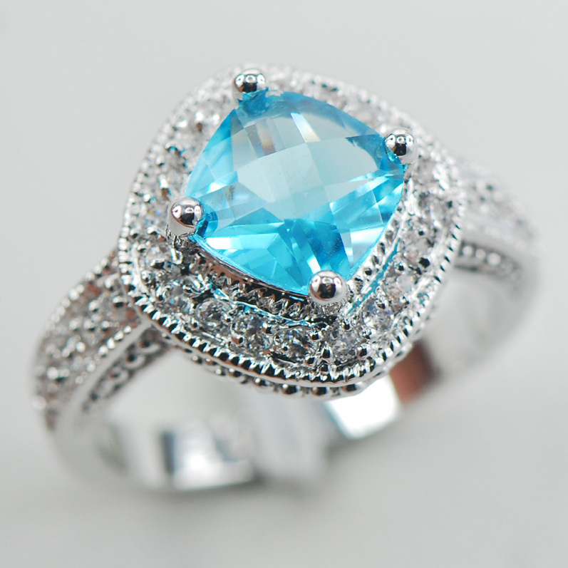 Simulated Aquamarine White Crystal Zircon Women 925 Sterling Silver Ring F900 Size 5 6 7 8 9