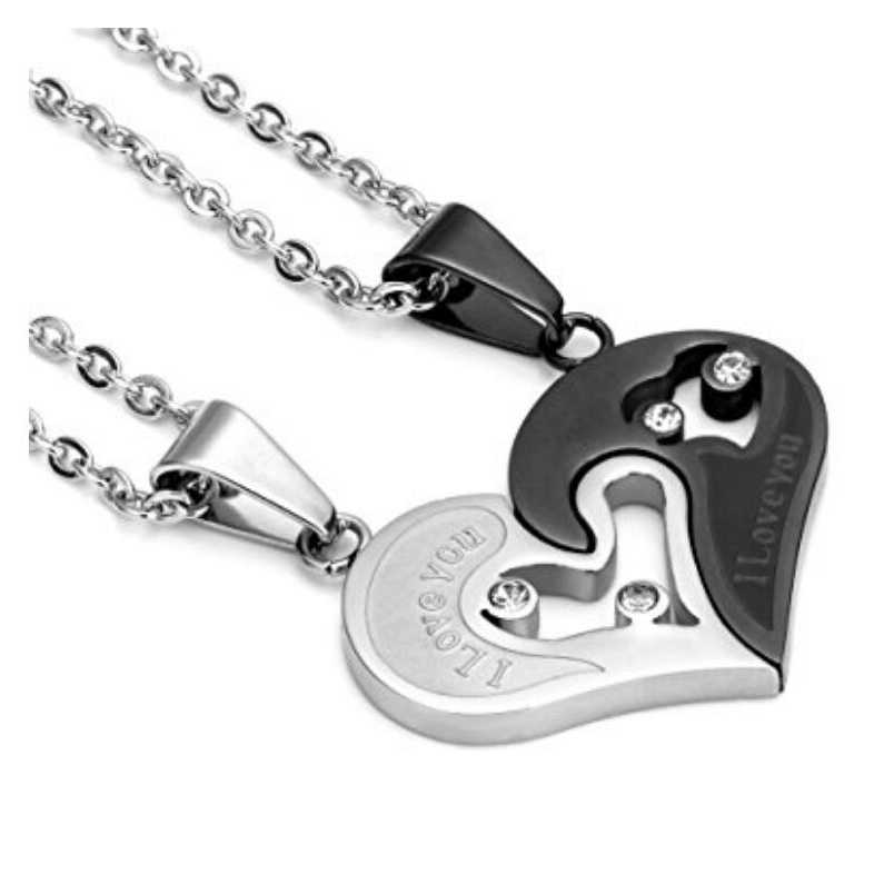 fe11e186c6 ... Two Colors Stainless Steel Mens Womens Couple Necklace Pendant Love  Heart CZ Puzzle Matching ...