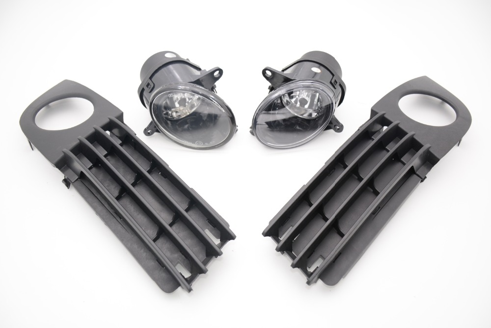 1 Set front bumper driving fog lamp assembly with fog light covers kit for 2002-2006 Audi A6 pair car 55w h11 front bumper driving fog light lamp for audi a4 b6 sedan 02 05 03 04
