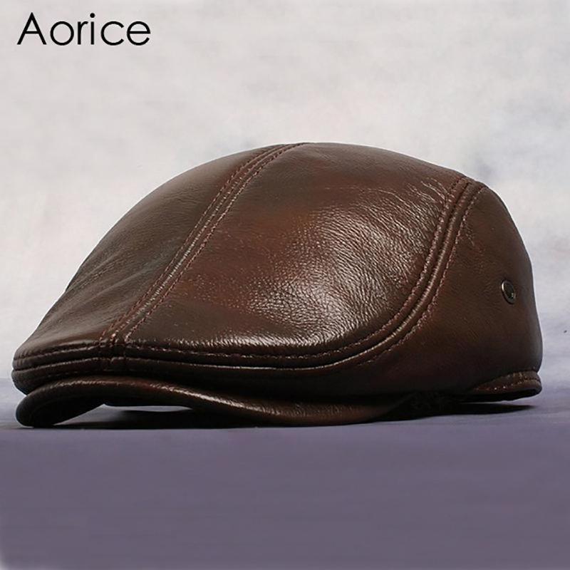 Aorice New Design Men's 100% Genuine Leather Baseball Cap Brand Newsboy Beret Cabbie Golf Hat Mens Slide Caps Flat Winter HL042 aorice autumn winter men caps genuine leather baseball cap brand new men s real cow skin leather hats warm hat 4 colors hl131