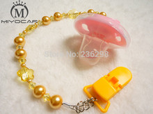 MIYOCAR 2017New deep yellow pearl Crystal dummy clip holder pacifier clips baby soother chain and Teethers clip for baby