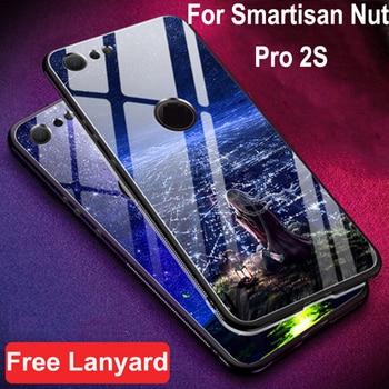 Перейти на Алиэкспресс и купить Чехол для Smartisan Nut Pro 2S Чехол из закаленного стекла + чехол с мягкими краями 6,01 ''для Smartisan Nut Pro 2 s pro2s стеклянный чехол