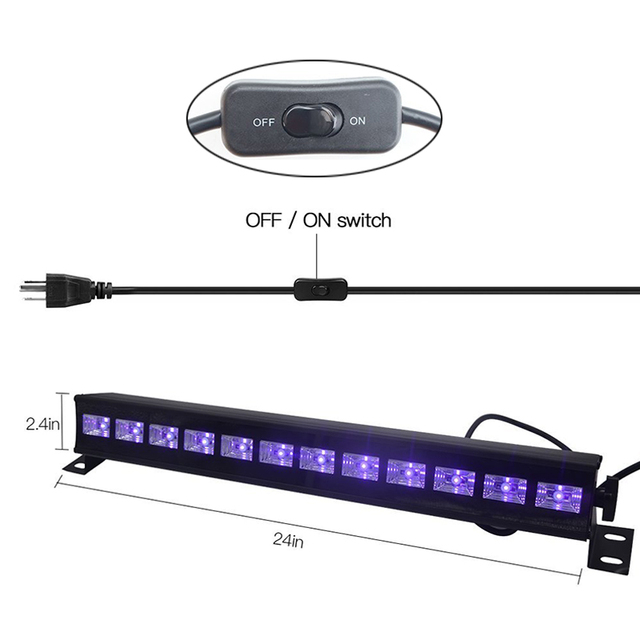 12 LED Disco UV Violet Black Lights DJ 36W Par Lamp UV For Party Christmas Bar Lamp Laser Stage Wall Washer Spot Light Backlight