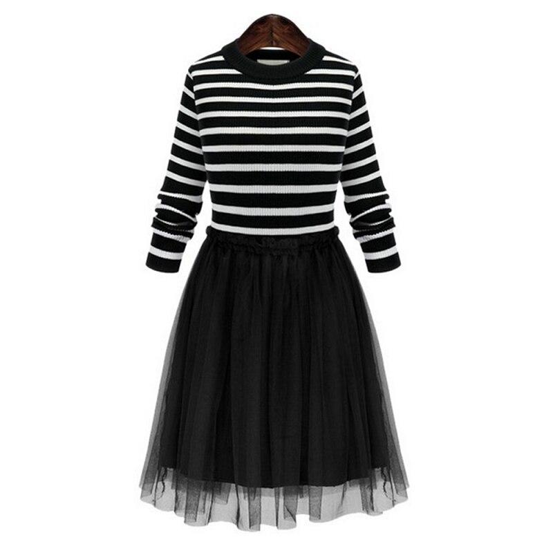 Sisjuly Черный Knit Stripe сетки лоскутное Винтаж мини-платье с круглым вырезом и длинными рукавами рюшами плиссированные Для женщин короткие осенн...