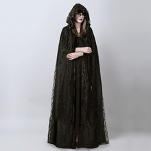 Steampunk Gothic Black Long Lace Hooded Cloak Cape for Women Dark Halloween Wizard Costume Full Length Witch Trench