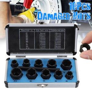Image 5 - MTGATHER 10Pcs Damaged Bolt Nut Screw Remover Extractor Removal Set Nut Removal Socket Tool Black 9 19mm